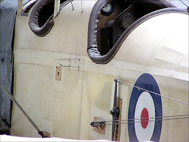 Twin cockpits of the BE2c light bomber reconnaissance Biplane
