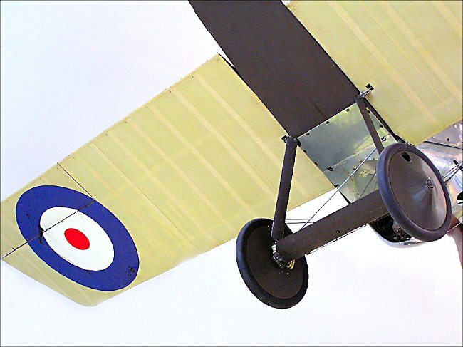 Undercarriage of a Sopwith Camel WW1 Fighter Biplane cockpit