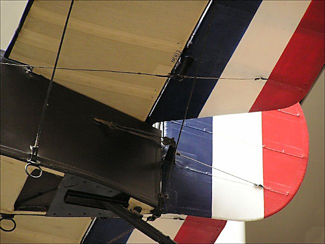 Tail section of a Sopwith Camel WW1 Fighter Biplane