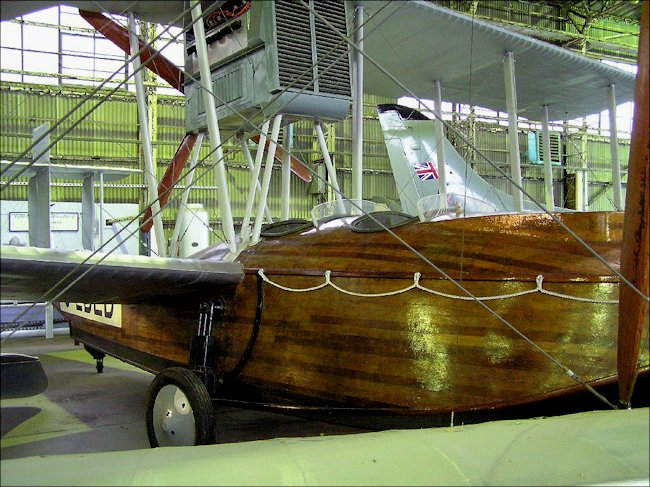 The wooden hull of the Vickers 54 Viking flying boat