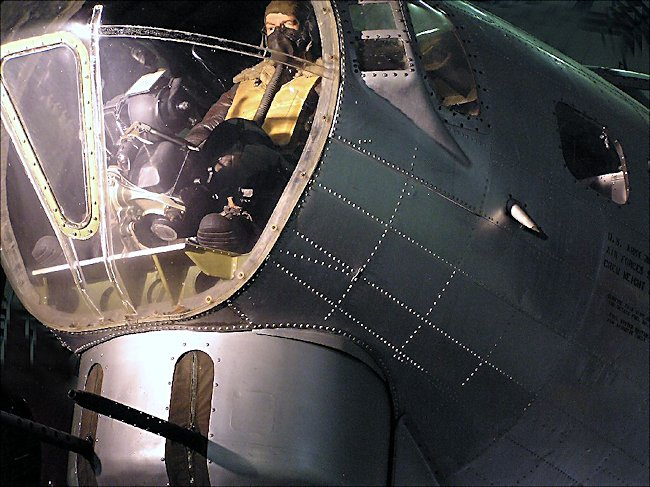 Bomb aimer position at the front of a WW2 Boeing B17 Flying Fortress bomber