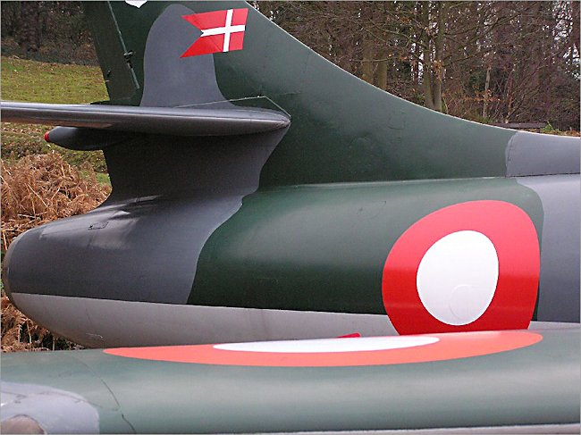 Royal Danish Air Force Hawker Hunter Jet Fighter Bomber tail section