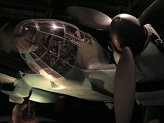 front view of the cockpit of a WW2 German Luftwaffe Heinkel He 111 Bomber at night