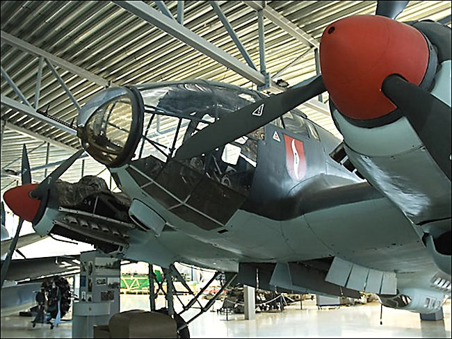 front view of a Battle of Britain WW2 German Luftwaffe Heinkel He 111 Bomber