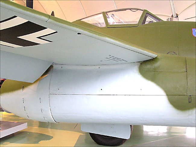 side view of the engin on a Luftwaffe Messerschmitt Me 262 jet fighter