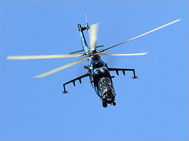 Soviet Mi-24 Hind ground attack helicopter gunship