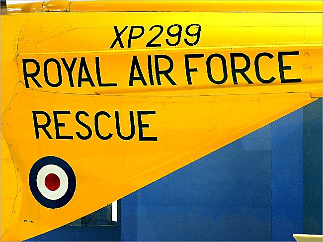Surviving Westland Whirlwind raf air sea rescue helicopter tail section markings