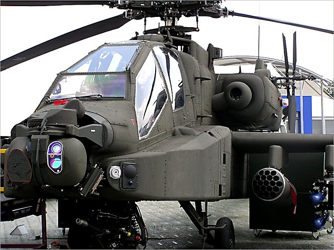 This is of a British Apache attack helicopter gunship. You can tell by the Radar and Missile Warning sensors on the nose. Those DAS sensors are unique to the UK