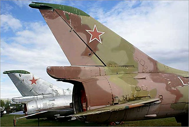 Riga Airport Mikoyan-Gurevich MiG-23 Flogger jet fighter markings