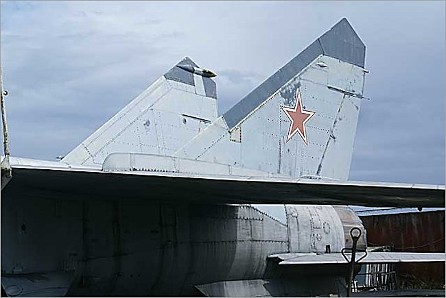Soviet Russian Surviving Mikoyan MiG-25 RBS Foxbat Jet Fighter twin tail section