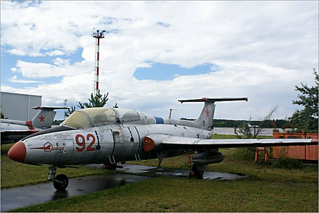 Soviet Russian Surviving Aero L-29 Delfin Dolphin Jet Trainer can bee seen at the Russian Aircraft Museum next to Riga international Airport in Latvia