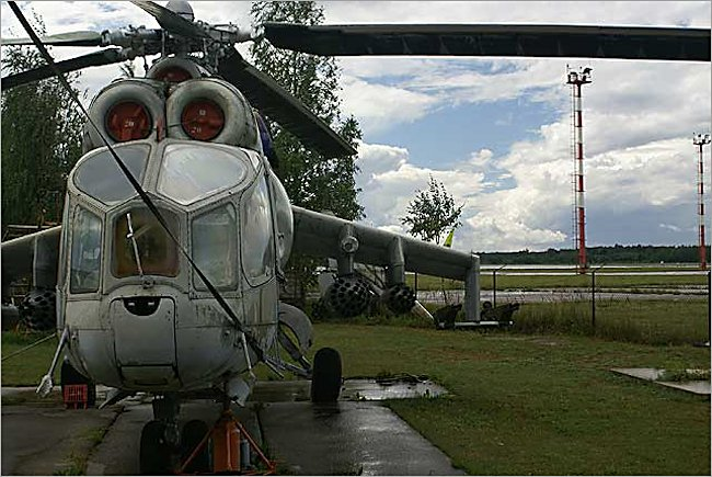 Mil Mi-24 Hind ground attack helicopter gunship at the Russian Aircraft Museum next to Riga International Airport Latvia