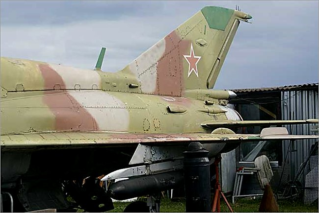 tail section of a Mikoyan-Gurevich MiG-21 Fishbed jet fighter