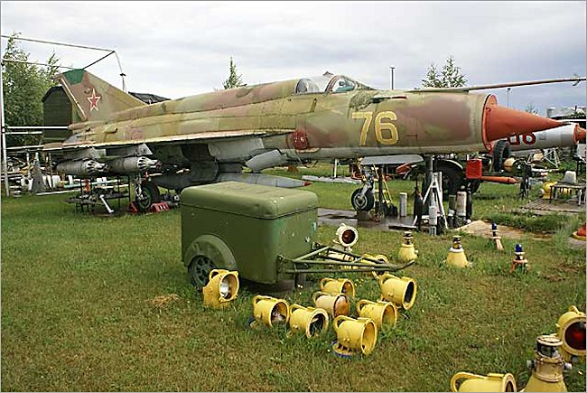 Riga Airport surviving Mikoyan-Gurevich MiG-21 Fishbed jet fighter