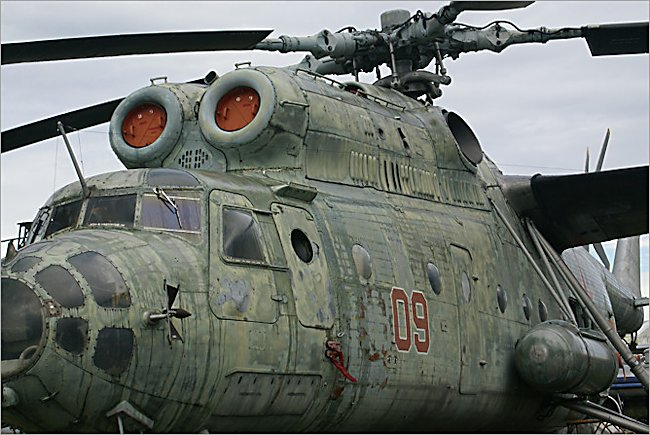 The huge Soviet Russian Surviving Mil MI-6 Hook Soviet heavy transport helicopter