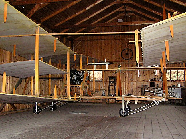At the Brooklands Museum you can see one of the very first airplanes the ROE 1 Biplane